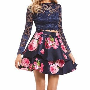 Two Piece Navy/Shimmer Dress (Prom/Formal)